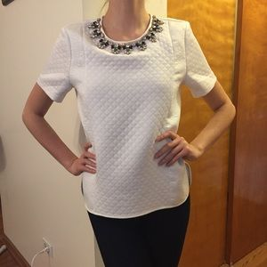 Romeo & Juliet Couture Tops - Romeo & Juliet Couture White Jeweled Top