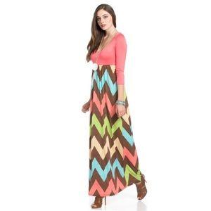 The Blossom Apparel Dresses & Skirts - Zigzag Coral Maxi Dress