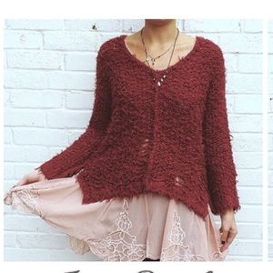 Free people up the ladder sweater fuzzy shaggy