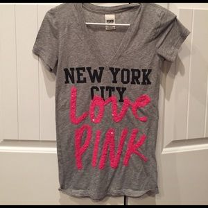 PINK Victoria Secret shirt Grey, pink & black XS