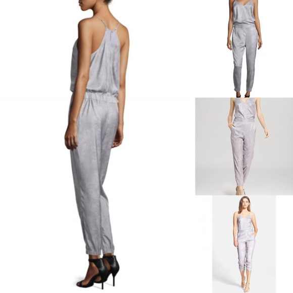 b45d158a3f Halston Heritage Slim Leg Metallic Grey Jumpsuit