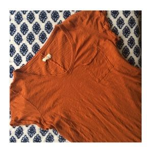 Maison Jules Tops - Basic Burnt Orange pocket Tee