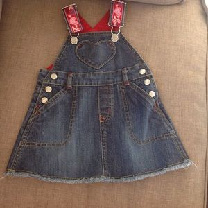 GAP Other - 💘Baby Gap heart Jean overalls dress 💕