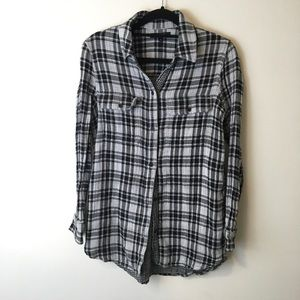 Madewell Black Plaid Button a Down Blouse Top