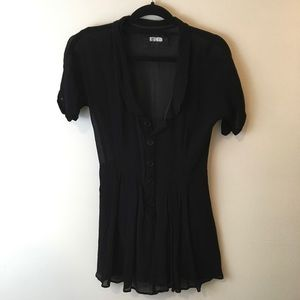 Reformation Pants - Reformation Black Sheer Button Down Blouse Romper