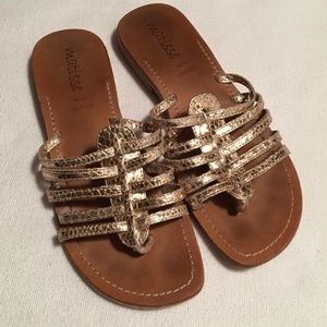 Matisse Gold Thong Leather Sandals sz 8