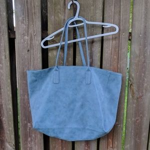 Saks Fifth Avenue Handbags - Saks Fifth Avenue Soft Blue Faux Suede Large Tote