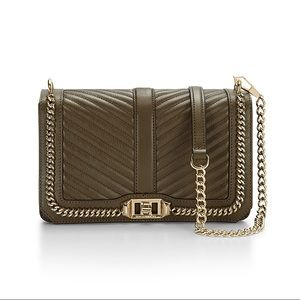 REBECCA MINKOFF Love Crossbody with Chain - Olive