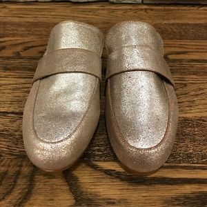 Silver slip on backless loafers size 6 NEW