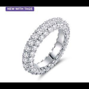 18K White Gold 3-Row Eternity Ring