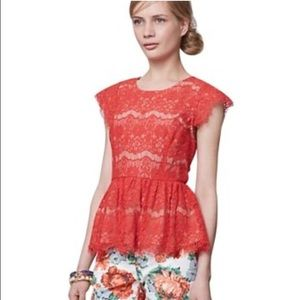 Maeve Anthropologie peplum lace top