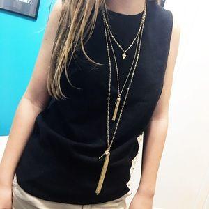 New York & Company Jewelry - NWT NY&Co 3-Strand Tassel Necklace