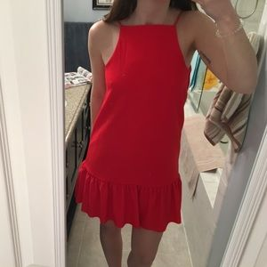 Red Zara Ruffle hem dress