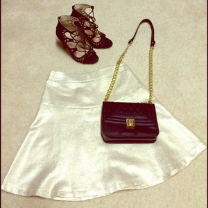 Dresses & Skirts - Metallic Gold Spring Skater Skirt