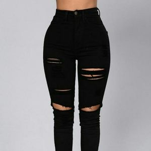 High waisted distressed jeans..