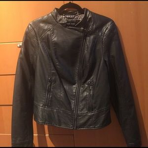 Black Rivet Jackets & Blazers - ⚡️Flash Sale⚡️Black rivet faux-leather moto jacket