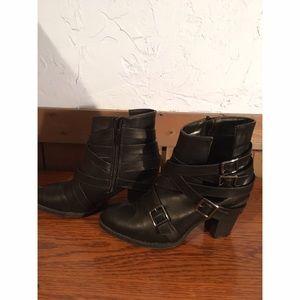 Black Buckle Heels