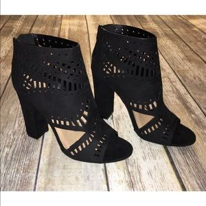 Caged Black Open Toe Booties