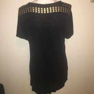 RACHEL Rachel Roy Tops - Rachel Roy Black T-Shirt With Gold Studs
