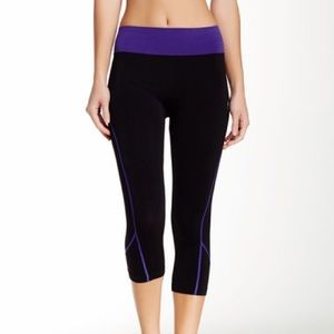 Electric Yoga Pants - Electric Yoga purple contrast stitch capri