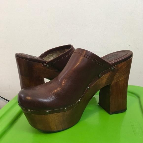 Frye Leather Wooden Clogs Mara Platform