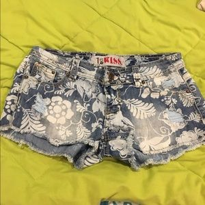 First Kiss Pants - 🔵Floral Denim Shorts by First Kiss