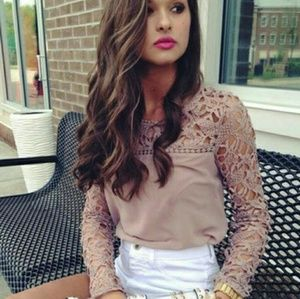 Tops - Lace Sleeve Long Sleeve Top