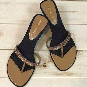 Nine West Rhinestone and Denim Sandals
