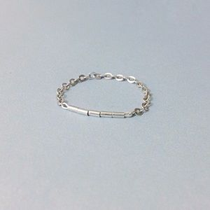 dainty delicate sterling silver bar chain ring