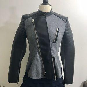 3.1 Phillip Lim Jackets & Blazers - 3.1 Phillip Lim Peplum Moto Leather & Felt Jacket