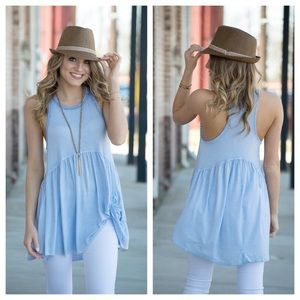 Infinity Raine Tops - Light blue knot front babydoll tunic