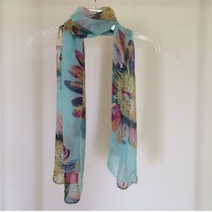 Accessories - Sheer blue sunflower scarf