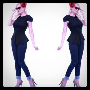Voodoo Vixen Tops - Top Peplum 50's inspired Pin Up