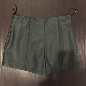 Forever 21 faux leather olive green shorts