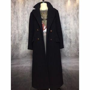 Vintage Jackets & Blazers - BLACK FLOOR LENGTH VINTAGE 💯 WOOL TRENCH COAT!!