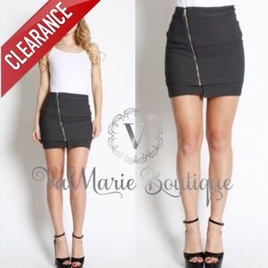 CLEARANCE CHARCOAL DIAGONAL ZIPPER MINI SKIRT