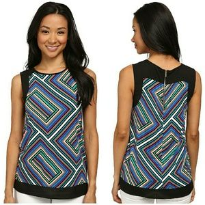 New! Calvin Klein Geometric Top With Back zipper