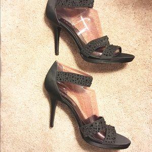 Nina Shoes - Black Sequin NINA Stiletto Size 10 Heel Dress Shoe