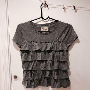 Hollister Tops - 🖤❤️ Hollister Super Cute Gray Ruffle Tee Shirt