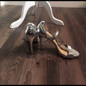 Gianni Bini Silver and Rhinestone Heel