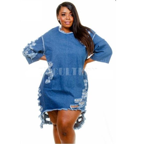 Dresses Plus Size Distressed Denim High Low Tunic Dress Poshmark