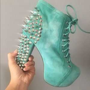 Lita Spike Turquoise Suede Silver Jeffrey Campbell