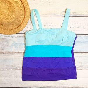 Magicsuit Other - Magic Suit Blue Striped Tankini Swim Top