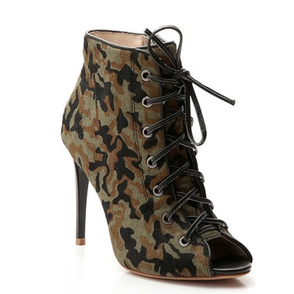 York Camouflage Lace Up Booties | Poshmark