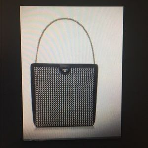 Tory Burch Tote BLACK AND WHITE WOVEN
