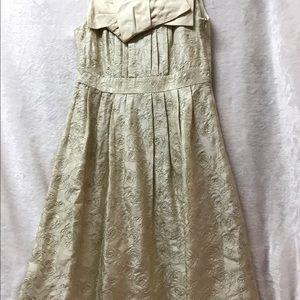 Detailed rosette embroidered silk dress