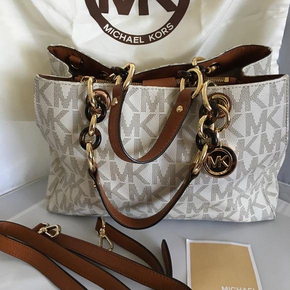 31b5782bed1628 Michael Kord signature vanilla satchel purse bag. M_58de78dd5c12f8c3b60084d6