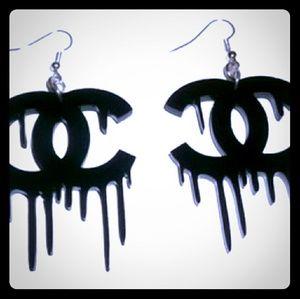 "tswcouture Jewelry - CCs drippy black lasercut dangle earrings 2"""