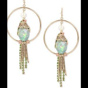 Betsey Johnson Multi-Stone Bird Drop Hoop Earrings