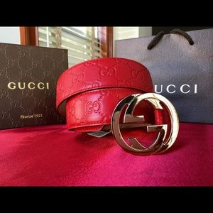 Gucci Other - 🌶 Authentic Men Gucci Belt Red Guccisima Gold GG